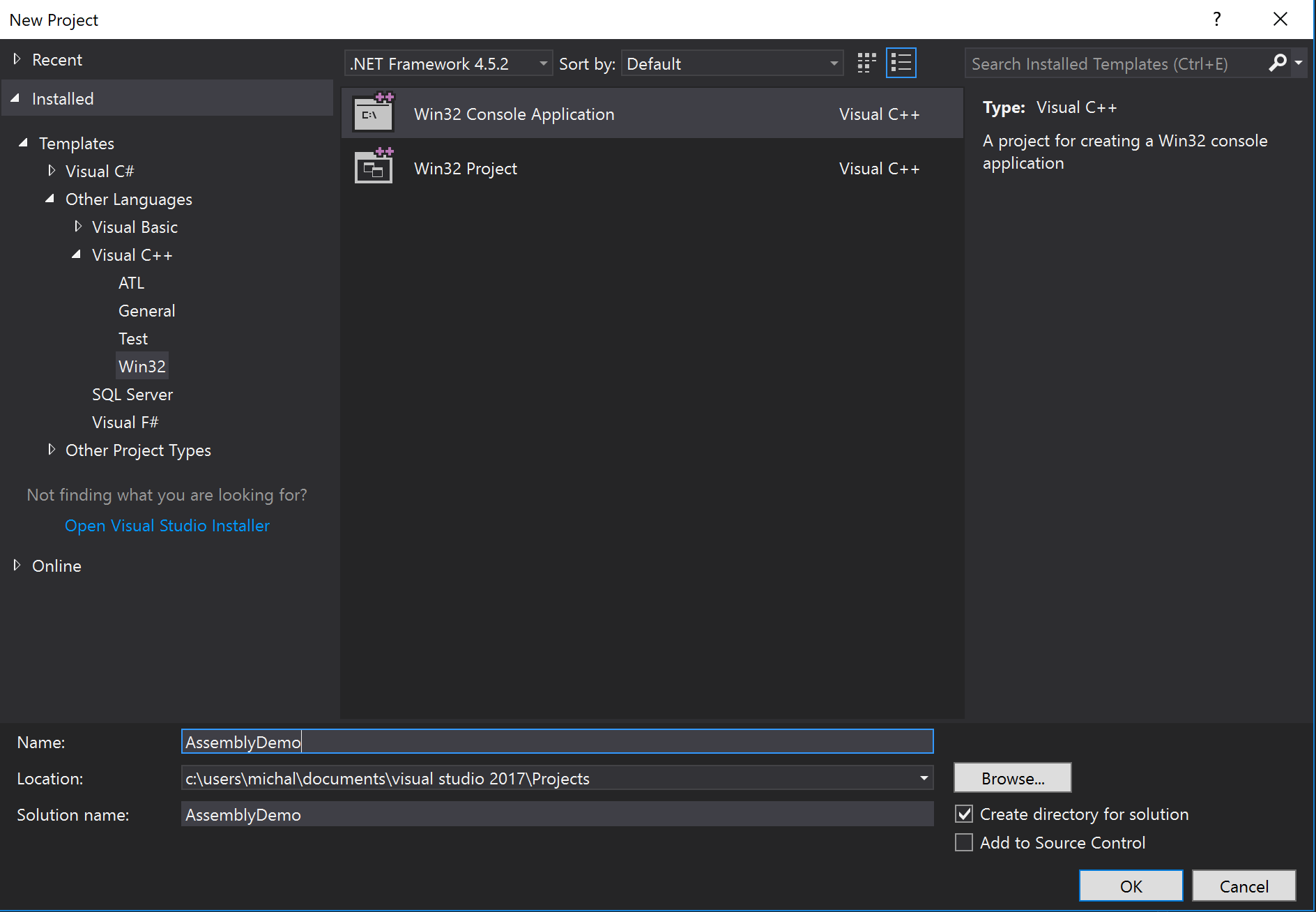 Building IA32 assembly project in Visual Studio 2017 - Michał Łusiak